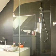 Porte de douche en verre translucide